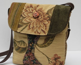 SHOULDER POUCH Medium Fabric and Leather  Flower Child