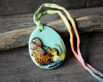 Beautiful mom and baby duck at the pond - mallard duck mom and baby -  Fused glass pendant