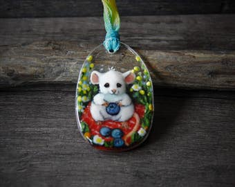 Picnic time mouse  - blueberry mouse fused glass pendant