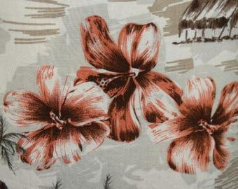 Men's Hawaiian Shirt 90's Puritan FASHION Hibiscus Flowers, Tropical Beach Hut, -  Med. - Beach Attire, 100 Rayon, Luau Men's Shirt, Surfer