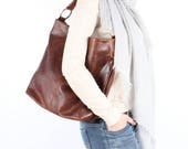 Distressed Brown Leather Handbag Hobo Tote Purse
