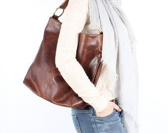 Distressed Brown Leather Handbag, Hobo, Tote, Purse