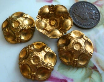 Vintage Brass Stampings, 1960s Etruscan Style Round, Fully Dapped Medallion Jewelry Findings, 20mm, 2 pcs. (C13)