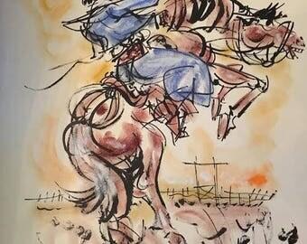 Argentina Horseback Gaucho Painting by Elena Castellanos Water Color 1967