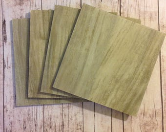 Grey Coaster Tile Blanks-Set of 4- Each tile is 2mm thick-The front is ready to add paper, fabric or paint to-The back is a finished surface