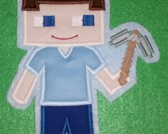 Custom Handmade Minecraft Steve Video Game Gamer Embroidered Applique Sew On Patch