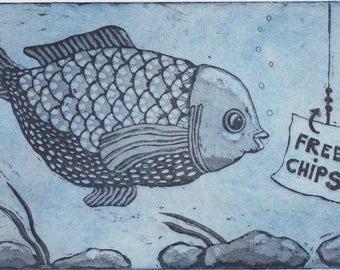 etching, fish art print, beach art print, ocean wall art, deep sea fishing art, fishing wall art, fish art, humor art print, funny print