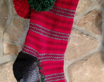 Old Fashioned Hand Knit Classic Series Two tone Red Horizontal Stripe Christmas Stocking Fir Tree detail
