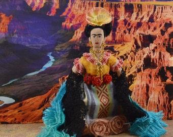 Frida Kahlo, Doll Miniature, Mexican Artist, Caricature Art,  Self Portrait Painter