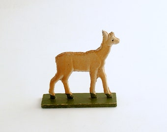 Antique Miniature Wood Deer Figurine Erzgebirge Flachfiguren Germany