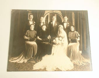 Vintage Wedding Antique Photograph Bridal Party Bride Groom Wedding Decoration