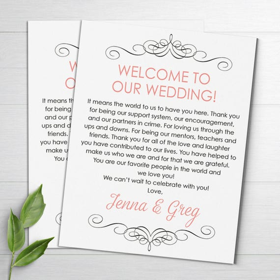 Wedding Gift Bag Letter : Wedding Welcome Letter, Wedding Itinerary, Wedding Favor, Thank You ...