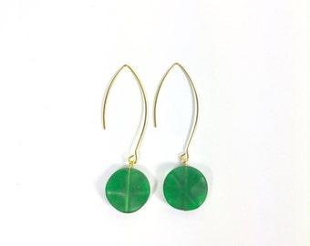 Green and Gold Drop Earrings, Vintage Earrings, Drop Earrings, Gold Earrings
