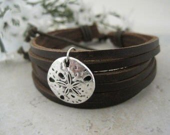 Leather Cuff Sand Dollar Bracelet Nautical Design