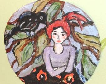 ceramic plate  9.5 inches round  redhead girl and black crow blue green red black purple decorative plate wall art plate