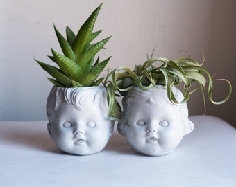 Baby Girl and Boy Doll Head Planters Set - 2 Planters
