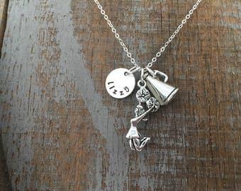 Stamped Cheerleader Charm Necklace