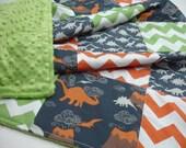 Dinosaur Medley Orange Green Navy Patchwork Minky  You Choose Size Blanket MADE TO ORDER No Batting