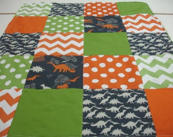 Dinosaur Medley Orange Green Navy Patchwork Minky Baby Security Blanket 25 x 32 READY TO SHIP