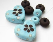 1 matched pair lampwork artisan hearts etched turquoise chocolate brown spacers floral