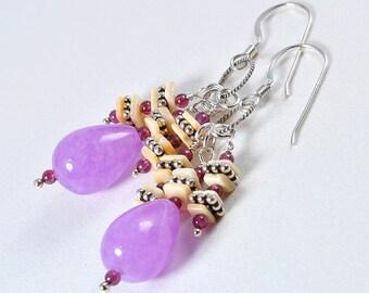 Pink drop earrings | jade cluster earrings | pink earrings | cluster earrings