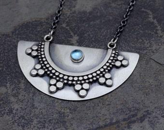 Half Moon Tribal Pendant with Blue Topaz