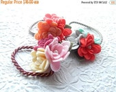 CLEARANCE Pair (2) of floral ponytail holders, orange scrunchie, aqua hair elastic, hair accessory, fashion accessory, womens accessory