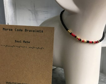 Soul Mate, Morse Code Stretchy Bead Bracelet - Pick your color