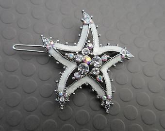 Vintage barrette starfish Enamel hair clip white rhinestone Beach Hair Jewels Small shell Beach bohemian seashell Boho chic Accessory Gift
