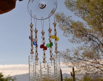SALE SALE SALE Windchime Misty Rainbow Stained Glass