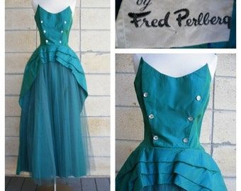 50s strapless gown by Fred Perlberg, teal taffeta and tulle ala 50s New Look evening gown, sea green blue party or prom dress, size S-M.