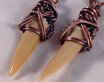 Fossilized Sand Tiger Shark Teeth in copper, earrings
