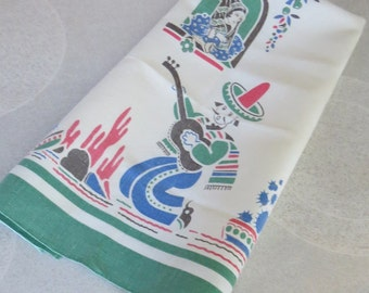 Linen tea towel, dishcloth, Mexican serenade, like new mid~century