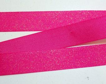 Pink Ribbon,  Shock Pink Glitter Grosgrain Ribbon 7/8 inch wide x 25 yards, Offray Glitter Grosgrain Ribbon
