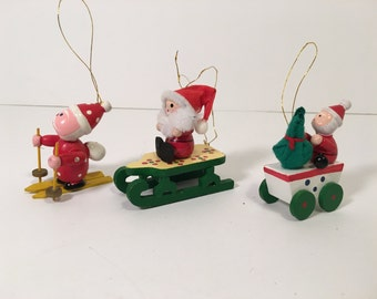 Santa Ornaments Wood Hand Painted Christmas Sleigh Sled Skis