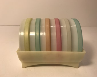 Vintage Tupperware Coasters FREE SHIPPING Pastel Mid Century with Case Pink Orange Blue Yellow Mint