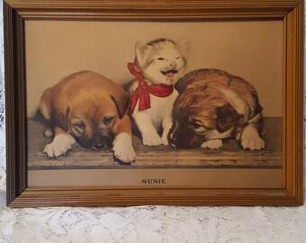 Vintage Embossed Litho Framed Print Titled SUSIE