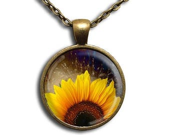 40% OFF - Sunflower Rising - Glass Dome Pendant or with Chain Link Necklace NT119