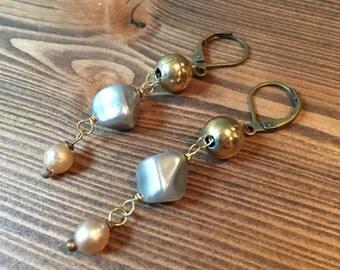 Pebbles Earrings Vintage Repurpose Blue Pink Pearl Gold Metallic