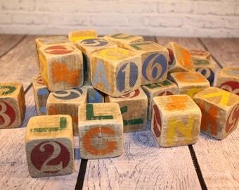 28 Vintage Wooden Children's Blocks