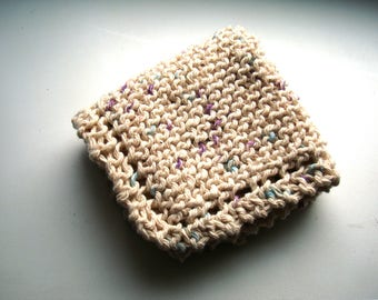 Dishcloth Facecloth or Washcloth 100% Cotton Spa handknit in Ivory with Color Speckles Beige Knit Cloth Spring Cleaning Aqua Lilac Specs