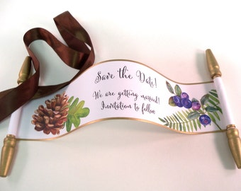 Nature Save the date mini scrolls, woodlands wedding invitation, pinecone and fern, set of 12