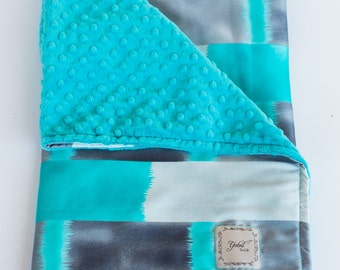 JAMES BABY BLANKET / Gray and aqua satin print with soft plush minky/ Baby blanket  / Unique baby shower  gift/ one of a kind