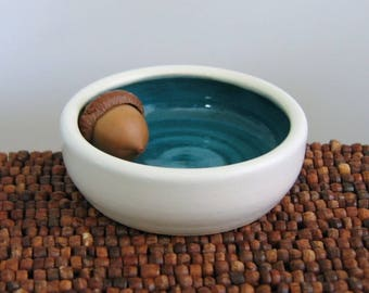 Ring Holder in Peacock Blue / Green, Wedding Ring Holder, Tiny Ceramic Jewelry Dish, Pottery Bowl, Engagement Gift, Hand Thrown Stoneware