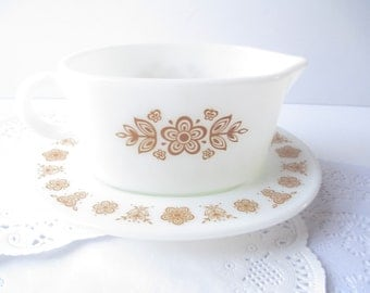 Vintage Pyrex Butterfly Gold Gravy Boat and Underplate