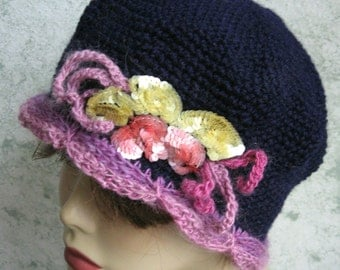 Womens Crochet Hat Navy With Soft Mauve Scalloped Brim And Colorful Sequin Trim Womens Chemo Hat Flapper Style Hat Head Sizes 21- 23 Inch