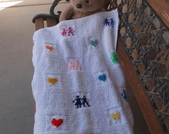 Hand knitted white baby blanket/baby blanket with hearts/decorative blanket/unisex baby blanket/baby shower gift/baby boy/baby girl/knit