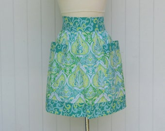 Half Apron , Short Apron , Teal and Lime Green Swirl , Women's Short Apron , Teen Apron , Bridal Gift , Kitchen Gift, Hostess Gift