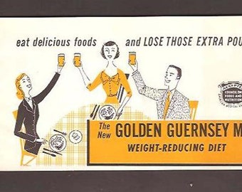 The New Golden Guernsey Milk Weight-Reducing Diet-Advertising Diet and Recipe Booklet c. 1954 - Cream Top Dairy -Pocatello - Idaho Falls, ID