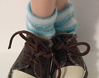Short Aqua and White Striped Blythe Socks...